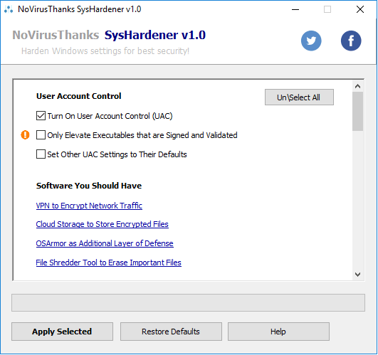 user access control settings syshardener