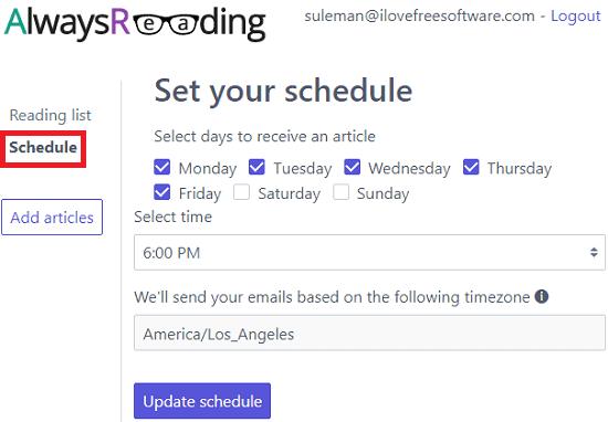 Always Reading schedule specify
