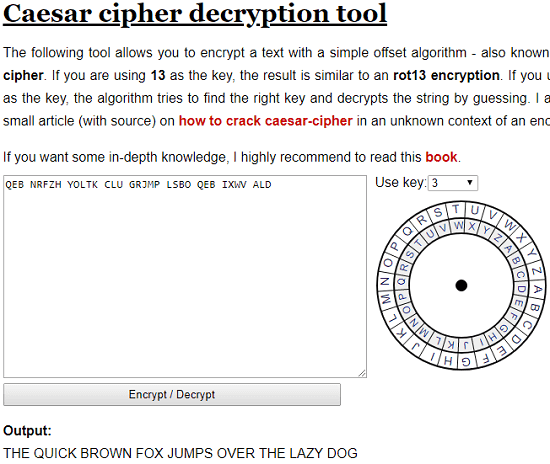Caesar Cipher Decryption Tooll