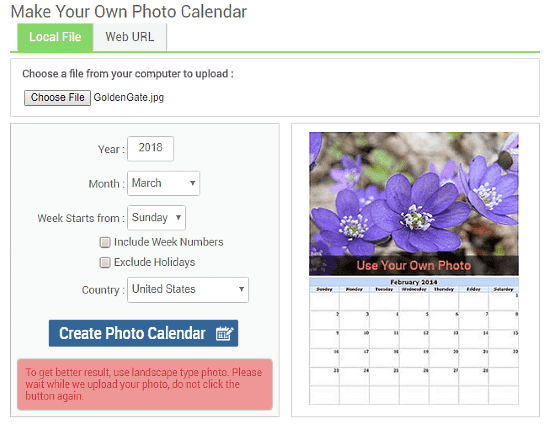 CalendarLabs: Online Photo Calendar Maker