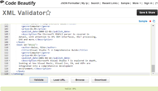 Code Beautify XML Validator