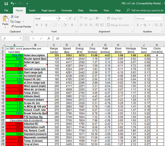 Excel ballistic calculator free