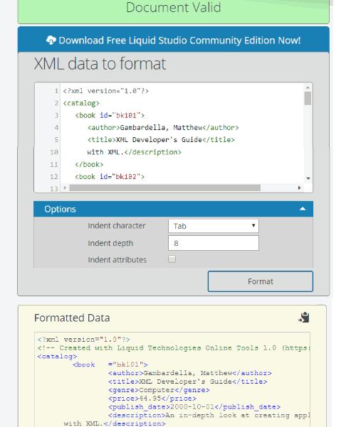 Free Online XML Formatter- interface