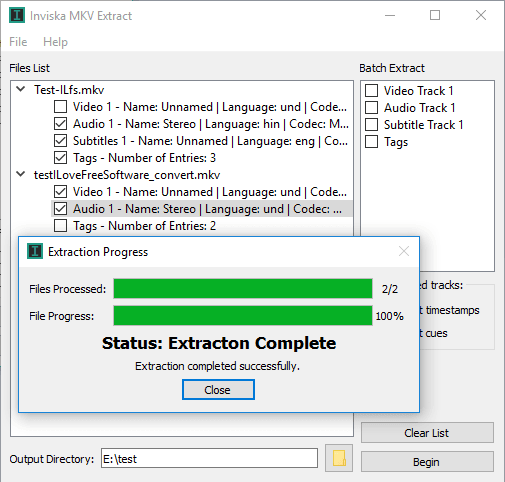 Free Software to Extract Audio, Video, Subtitles from MKV files in Bulk