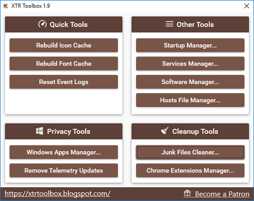 Free software with App manager, Startup manager, uninstaller, junk cleaner