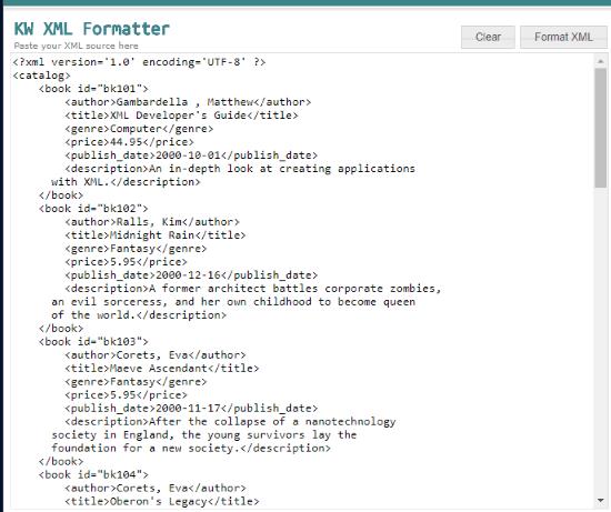 KW Online XML Formatter