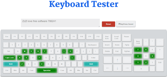KeyboardTester.co interface