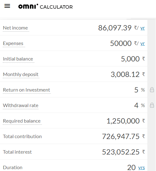Omni Calculator early retirement calculator free online