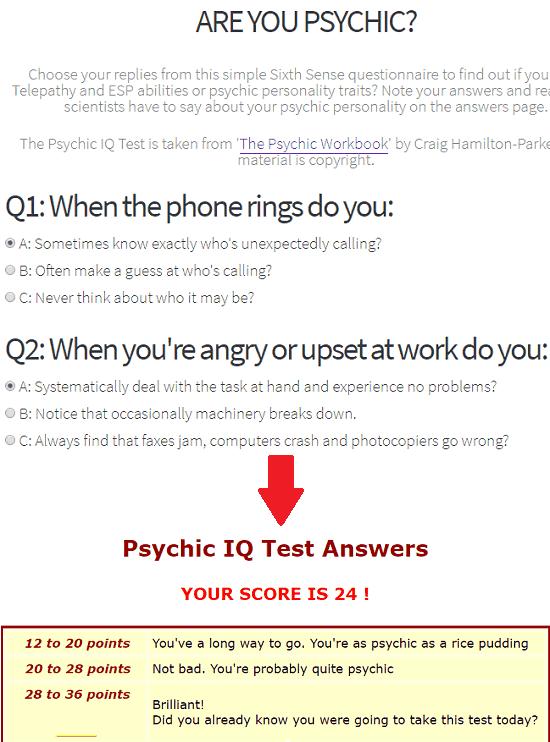 Psychic IQ Test free ESP test online