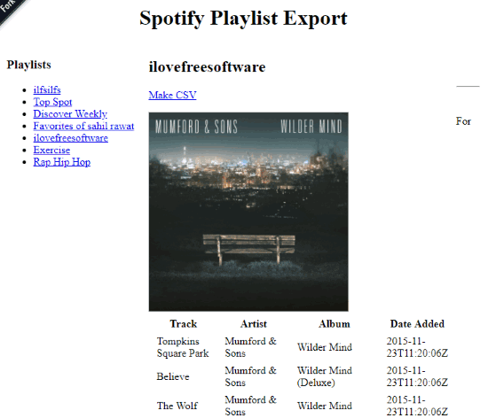Spotify Playlist Export