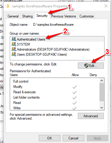 access security tab and then use edit button