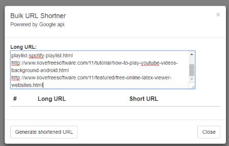 add original urls and use generate shortened url button