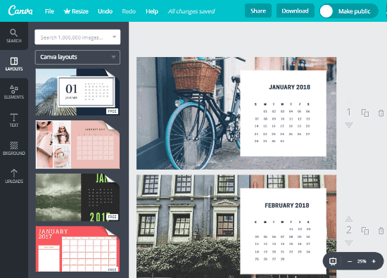 Canva Online Photo Calendar Maker