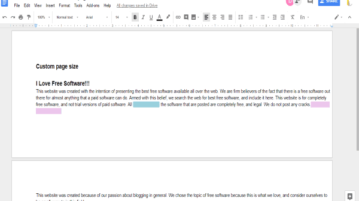 change google docs page size to custom page size