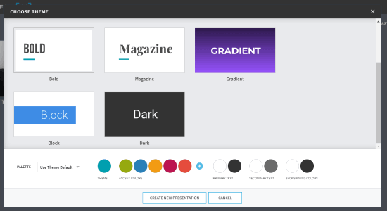 choose theme and color palette