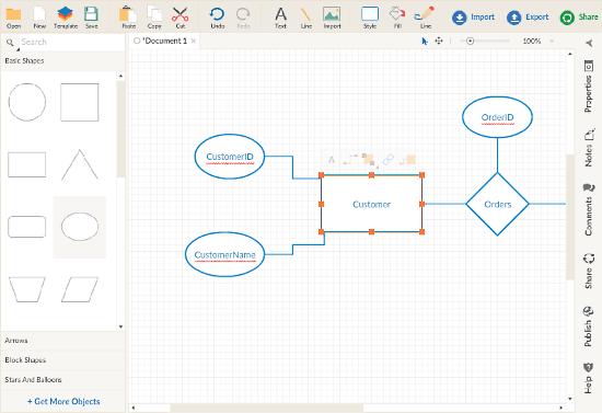 Creately: ER Diagram online