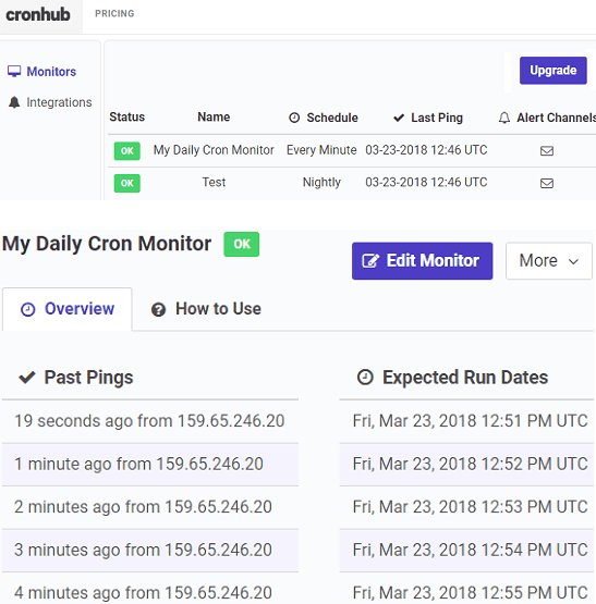 cronhub monitor cron jobs onlne for free
