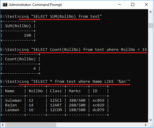 csvq sum count and wildcards sql commands