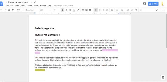 default page size of Google Docs