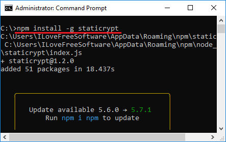 install staticrypt in Windows 10