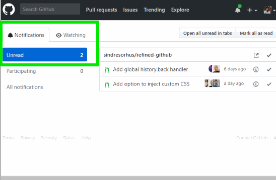 pull requests marked as unread in github