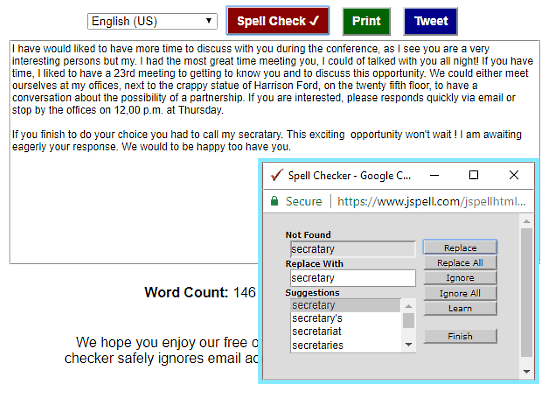 JSpell: Text Correction Online