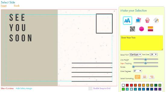 JukeBoxPrint: Free Online Postcard Maker