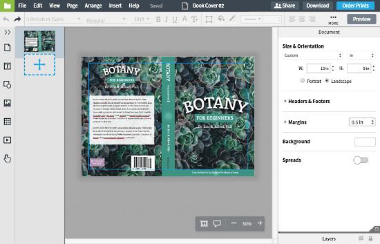 LucidPress: make book cover online