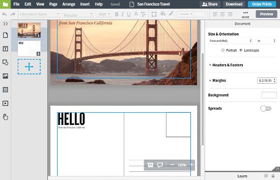 LucidPress: Online Postcard Maker