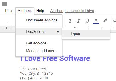 open DocSecrets sidebar