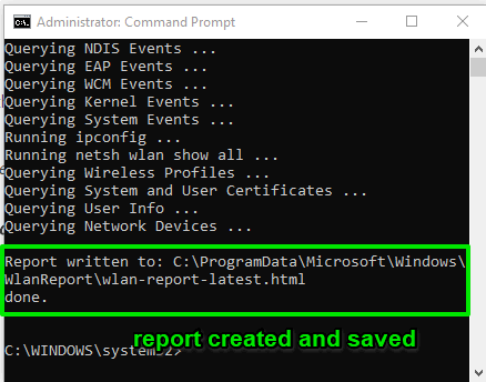 report created and saved