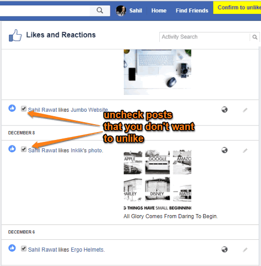 uncheck posts that you don't want to unlike