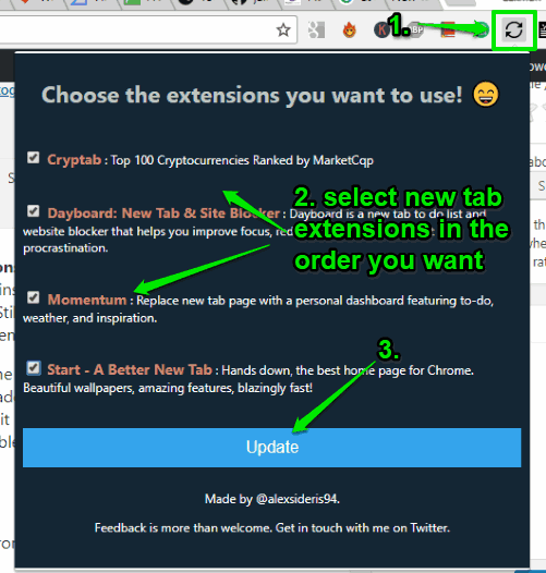 use extension pop up to select new tab extensions and update