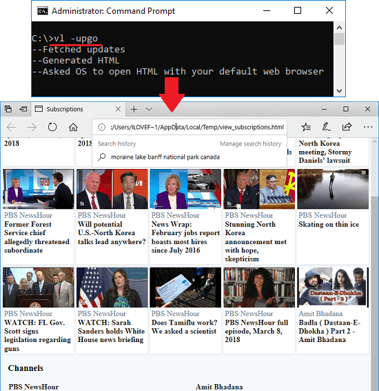 vidlist open html page of new videos