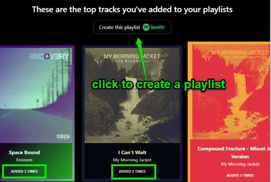 view list of tracks and create a separate playlist