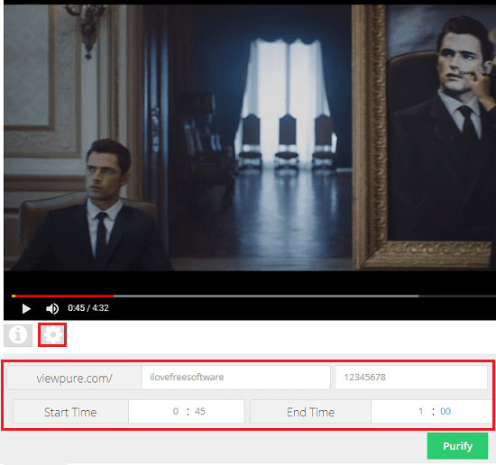 viewpure share specific portion of a video with password