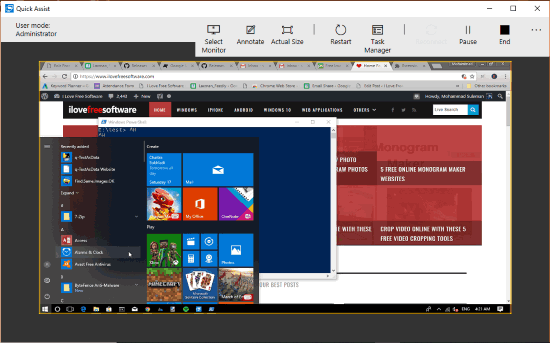 windows 10 screen shared using built-in tool of windows 10