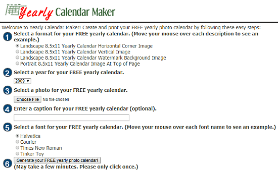 yearly photo calendar maker