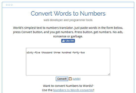 convert words to numbers