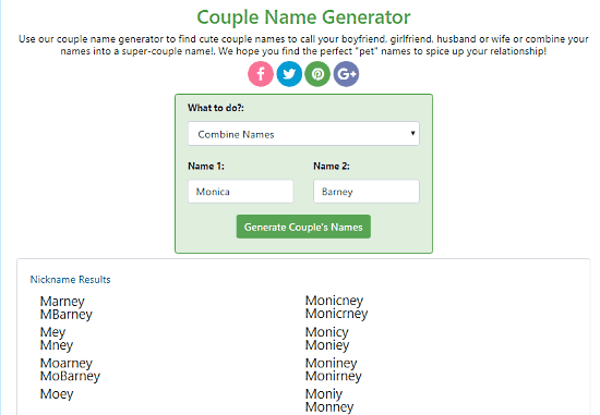10 Free Couple Name Generator Websites
