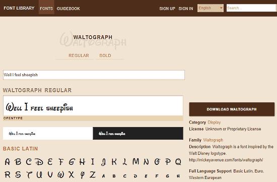 waltograph disney font generator