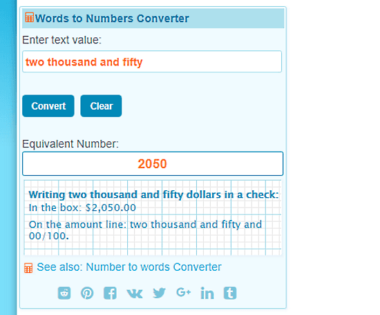 words to numbers converter