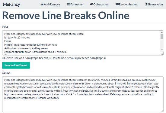 remove line breaks online