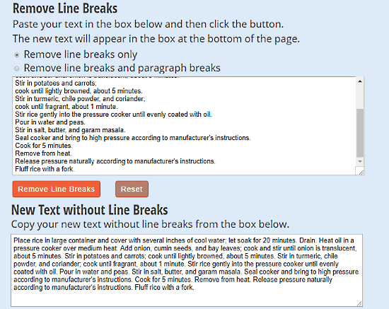 line break removal tool