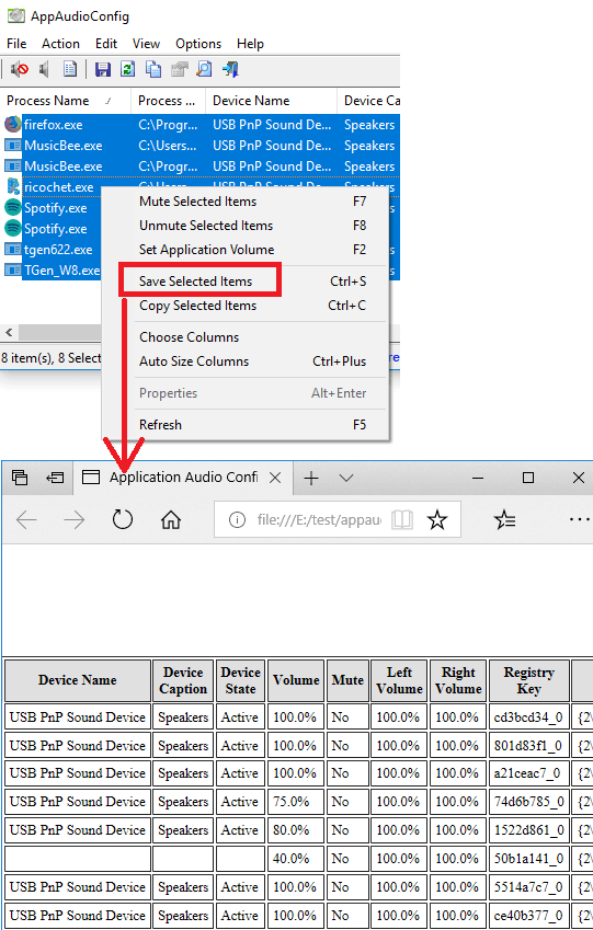 AppAudioConfig export sound settings of programs to a file