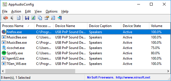 AppAudioConfig interface to see, change Current Audio Settings of all Applications on Windows