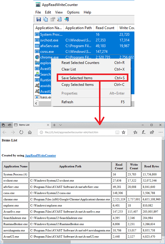 AppReadWriteCounter in action save report