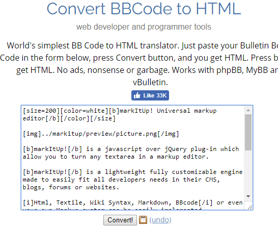 BBCode to HTML converter browserling