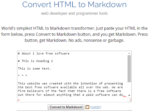 Browserling.com HTML To Markdown Converter