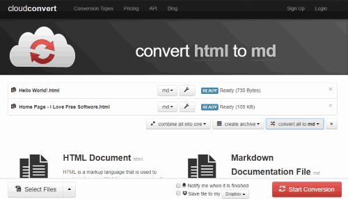 CloudConvert HTML to MD converter